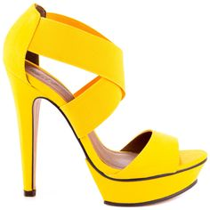 Youll love the tantalizing Tamms sandal!  This Michael Antonio look features a yellow elastic upper with crossing straps to keep your foot in place.  Last but least is a 5 1/2 inch heel and 1 inch platform adding a lift and confident boost.