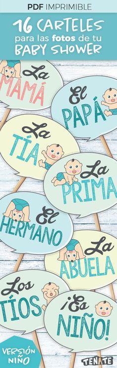 Versión Niño   Carteles / banners / letreros para fotos de Baby Shower -Photo booth-  ¡Con estos divertidos carteles involucra a la familia del bebé en tu Baby Shower! Después usa las fotos para crear un bonito álbum de recuerdos para el bebé.