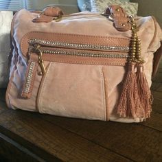 Juicy Couture handbag Pink track suit material! GREAT condition rhinestones all in perfect condition! Juicy Couture Bags