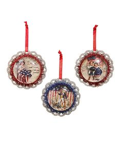 This Tinsel Americana Ornament - Set of Three by Bethany Lowe Designs is perfect! #zulilyfinds