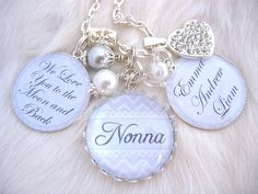 Love you to the Moon and Back Nana Grandmother Mother Necklace Winter white chevron Bottle cap Jewelry Keychain Chidrens name, glass dome. $39.50, via Etsy.