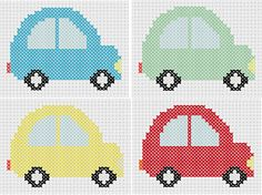 Looking for your next project? You're going to love 4 Little Cars Counted Cross Stitch  by designer MelsDaisyPatch.