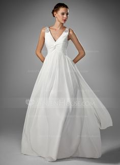 c65665075968  US  142.99  A-Line Princess V-neck Floor-Length Chiffon Wedding Dress With  Ruffle Beading - JenJenHouse