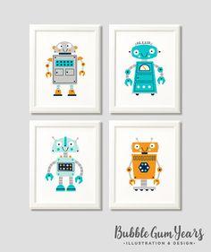 Modern prints for all ages von BubbleGumYears Nursery Prints, Nursery Art, Nursery Decor, Monster Art, Flat Design, Robot Nursery, Illustrator, Robot Illustration, Lion Print