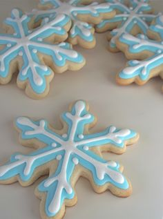 Blue snowflake cookies for Xmas time