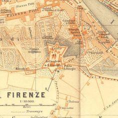 1913 Florence Vintage City Map Baedeker
