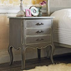 Laurel Three Drawer Side Table - Side Tables Coffee Tables - Furniture Love, love, love this but way too expensive Bedroom Furniture, Home Furniture, Bedroom Decor, Bedroom Ideas, Painted Furniture, Furniture Ideas, Coffee Table Furniture, Country Furniture, Coffee Tables