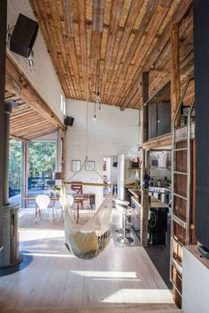 Modern Cabin Interior, Country Interior, Egyptian Home Decor, Casa Loft, Haus Am See, Small Loft, A Frame Cabin, Hygge Home, Wood Interiors