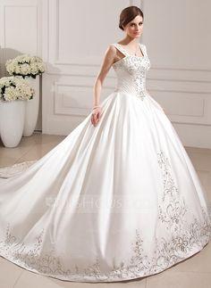 [US$ 246.99] De baile Coração Comboios Catedral Cetim Vestido de noiva com Bordados Bordado Lantejoulas (002012772)