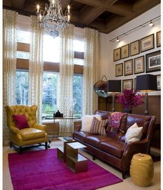 Mustard yellow + fuschia + chocolate brown = style statement! chandelier + curtains are rad too.