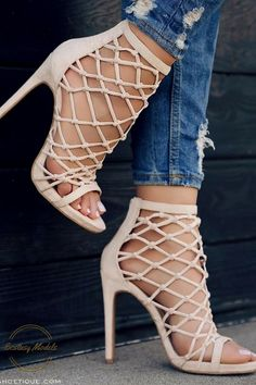 e7e0ed1ba65 Nude   Blush Strappy Caged Knotted Open Toe Bootie Heel Sandals