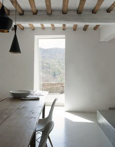 wooden table and beams