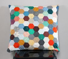 "My ""Carolyn Friedlander's Favorites"" Quilted EPP Hexie Pillow {an Art School Dropout's life}"