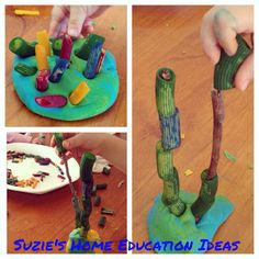 Looks like coral: Cool under the sea themed fine motor activity. Pasta, sticks & playdough.