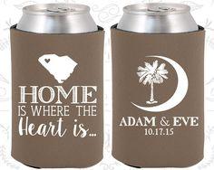Palmetto Tree, Wedding, Crescent Moon, South Carolina Palmetto, Palmetto Moon, South Carolina Wedding Favors, Wedding Koozies (378)
