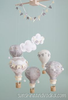 Heirloom Baby Mobile Hot Air Balloon Baby by sunshineandvodka