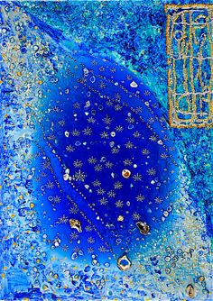 "DROPS OF LIGHT  27.65"" X 19.68""  /  70 X 50 cm  Acrylic, pastes, resin, shells, swarovski crystals on canvas"