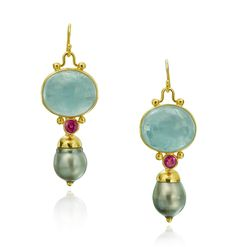 Aquamarine, pink sapphire, and pearl earrings in yellow gold designed by The Mazza Company