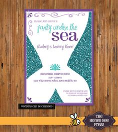 Mermaid Birthday invitation with Glitter background -Under the Sea Party - Whimsical Mermaid - Birthday invitation for girls - Item 0156 on Etsy, $17.07 AUD