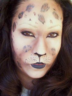 Leopard halloween makeup.