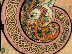 The Book of Kells, housed in the Trinity College Library in Dublin, is the most richly decorated of the Irish medieval illuminated manuscripts, dating from 800 AD. This book contains the four gospels in Latin. Book Of Kells, Medieval Manuscript, Medieval Art, Illuminated Letters, Illuminated Manuscript, World Serpent, Statues, Celtic Patterns, Celtic Designs