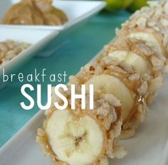 """Breakfast """"Sushi"""" // banana covered in peanut butter, rolled in rice krispies, and sliced into bite size pieces. *PW vote (still prefer sliced bananas over rice krispies in almond milk) Breakfast Sushi, Banana Breakfast, What's For Breakfast, Breakfast Recipes, Fun Breakfast Ideas, Breakfast Dishes, Sushi Recipes, Snack Recipes, Cooking Recipes"""