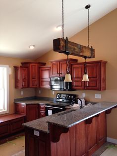 natural cherry kitchen cabinets | description: natural cherry wood