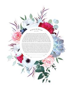 The purchase of your ketubah includes the archival print and your personalized text in Hebrew (or Aramaic) and English. Wedding Paper, Wedding Vows, Wedding Couples, Wedding Rustic, Wedding Bouquet, Romantic Weddings, Blue Weddings, Second Weddings, Arte Judaica