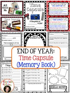 End of Year Time Capsule (Memory Book)- This product is perfect for an end of year time capsule or beginning of year All About Me activity.