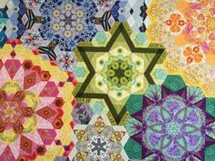 The New Hexagon Millefiore Quilt-Along Paper Piecing Patterns, Quilt Patterns, Snowflake Quilt, Millefiori Quilts, Quilt Modernen, Colorful Quilts, Foundation Piecing, Hexagon Quilt, Traditional Quilts
