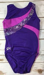 GK Gymnastics Leotard Purple Pink Foil Sleeveless Size AXS Adult XS | eBay