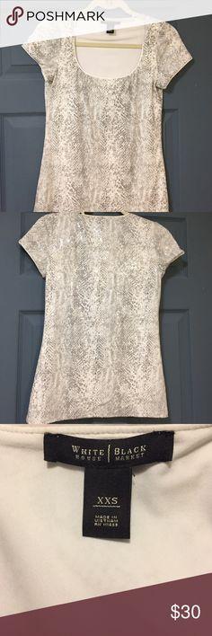Selling this White House Black Market snake print sequined tee on Poshmark! My username is: ramathon. #shopmycloset #poshmark #fashion #shopping #style #forsale #White House Black Market #Tops