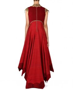 Shantanu and Nikhil Red Raw Silk Embroidered Anarkali with Churidar and Dupatta