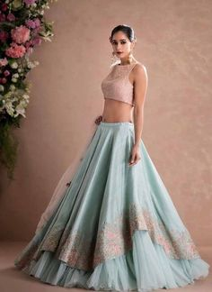 Latest Designer Wedding Lehenga Designs for Indian Bride Sky Blue Layered Embroidered Designer Lehenga Choli Indian Lehenga, Indian Gowns, Blue Lehenga, Indian Attire, Pakistani Dresses, Lehenga Style, Silk Lehenga, Silk Dupatta, Indian Wear