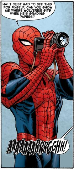 Spidey the Photographer in Wolverine and the X-Men Marvel Dc Comics, Marvel Heroes, Marvel Avengers, Comic Books Art, Comic Art, Spideypool, Amazing Spiderman, Spider Verse, Comic Character