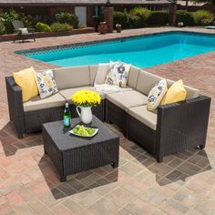 Make your outdoor living space as comfortable as the one indoors with this Chia Patio Wicker Sectional Sofa Set . This sectional sofa set includes a. Outdoor Sofa Sets, Outdoor Seating, Outdoor Living, Outdoor Decor, Outdoor Spaces, Outdoor Sectionals, Patio Sets, Rattan Furniture Set, Patio Furniture Sets