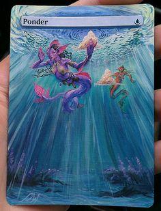 MTG altered art card Ponder by WallqvistStudio http://www.squidoo.com/magic-the-gathering-altered-art-cards #mtg #magic #magicthegathering #painting #alteredart