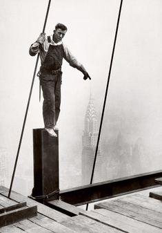 Lewis Hine  Steelworker standing on beam  1931