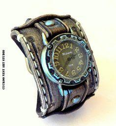 Bohemian leather watch Distressed brown by CuckooNestArtStudio