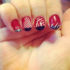 Red white & blue patriotic independence day 4th of July Memorial Day Veteran's Day nail art designs