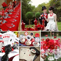 queen of hearts wedding theme - las vegas themed wedding Vegas Themed Wedding, Las Vegas Weddings, Red Wedding, Casino Wedding, Whimsical Wedding, Wedding Stuff, Casino Theme Parties, Party Themes, Party Ideas