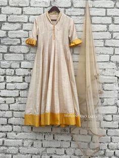 Chanderi-Silk kalidaar kurti with fine detailing(sleeves) Silk Kurti Designs, Churidar Designs, Kurta Designs Women, Dress Neck Designs, Designs For Dresses, Blouse Designs, Kurta Patterns, Dress Patterns, Salwar Kurta