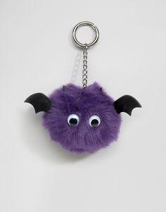 ASOS - Portachiavi da borsa con pompon a pipistrello per Halloween
