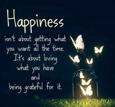 Happiness isn't about getting what you want all the time; it's about loving what you have and being grateful for it.  -