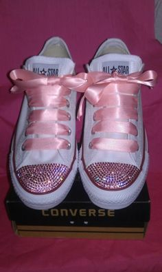 White adult ox Converse customised with 100% genuine Rose Swarovski Crystals with FREE matching satin laces! xx