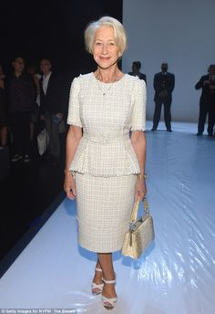 Ageing: Helen Mirren cut a stylish figure as she attended a show at New York Fashion Week ...