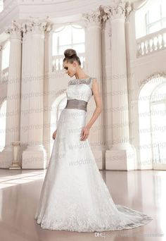 Cheap Lace Wedding Dress - Discount 2014 Spring New Bateau a Line Lace Bridal Dress Court Train Waistband Luxury Wedding Gown Custom Made Online with $145.52/Piece | DHgate