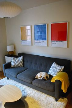 DIY Pantone posters, with instructions. A great way to fill a large space.