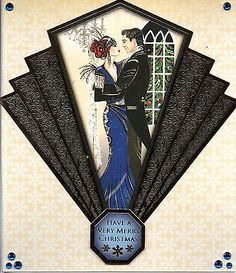 Art deco christmas #ladies and #couples #cards - handmade - cocktails, xmas tree, View more on the LINK: http://www.zeppy.io/product/gb/2/111812559103/
