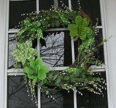 St. Patrick's Day wreath with diy fabric shamrocks
